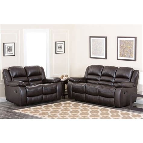 2 piece leather sofa set bowery hill 2 piece reclining leather sofa set bh 449875