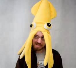 plush squid hat pillow bright yellow