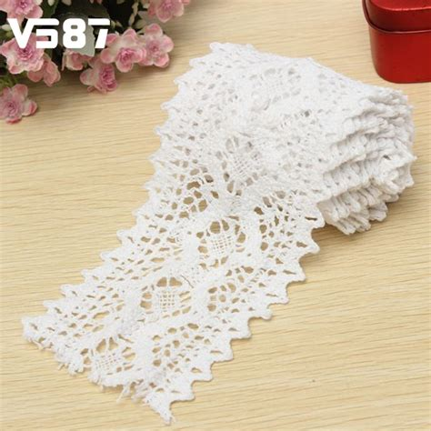 Lace Border Scallop 2 In 1dapat 2 Item Mold Emboss Flm026 2 yard vintage cotton white crochet scallop pattern lace trim diy embroidered sewing