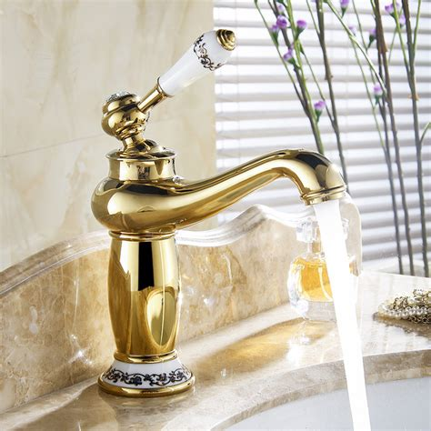 gold bathroom sink faucets versilia gold finish sink faucet brass single handle with