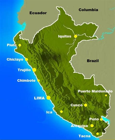 peru on the map peru map major cities the only peru guide