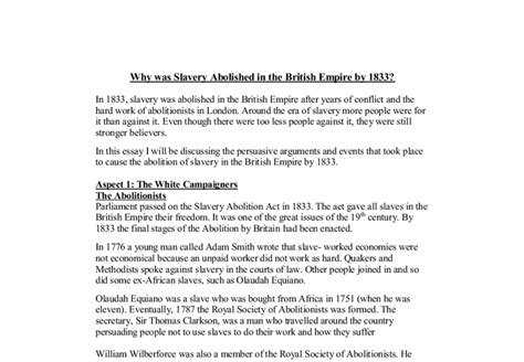 Essay On Slavery And Abolitionism by Why Was Slavery Abolished In The Empire By 1833 A Level History Marked By Teachers
