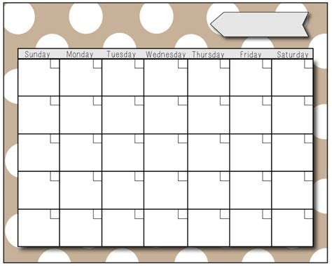 blank calendar template for preschool