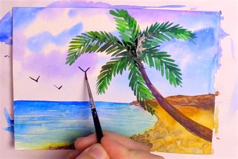 watercolor tutorial beach how to paint a tropical beach in watercolor speed