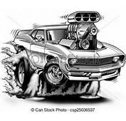Dessins De 69 Muscle Car Cartoon Burnout  Bw Illustration