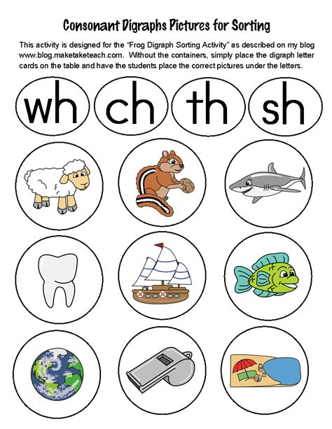 Digraph Worksheet by Classroom Freebies Sorting Digraphs