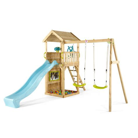 wooden swing climbing frame lookout tower wooden climbing frame with swings plum play