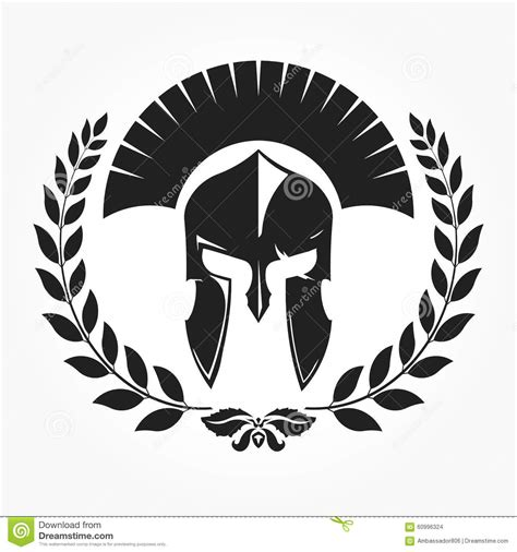 gladiator knight icon with laurel wreath stock photo