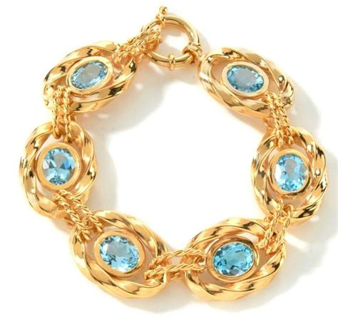 White Brazil Topaz Oval technibond genuine oval blue topaz bracelet 14k yellow