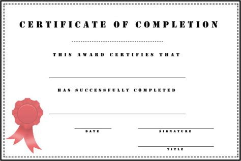 customizable completion certificate award template for