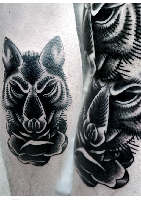 black wolf tattoo black grey neo traditional wolf by aleksy