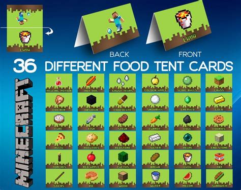 how to make food tent cards minecraft food labels food tent cards minecraft by