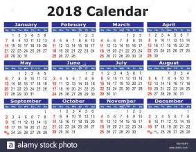 Brunei Calendã 2018 2018 Calendar Simple Vector Calendar For Year 2018 Stock