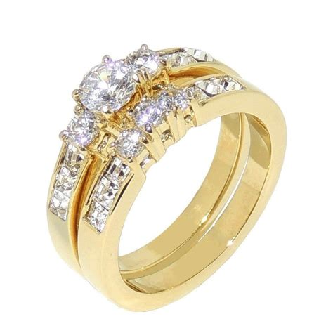 1 35ct gold ip stainless steel womens wedding engagement