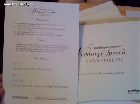 Wedding Speech Sweepstake - free wedding speech sweepstake kit paddypower