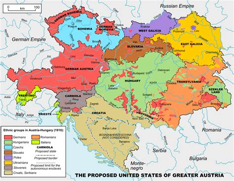 austro hungarian empire map united states of greater austria based on ethnic groups