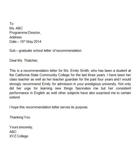 Reference Letter For Student Template 7 Letters Of Recommendation For Student Sle Templates