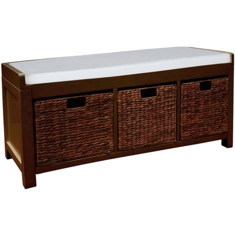 hall bench with storage baskets showtime hall bench with basket storage and padded top by