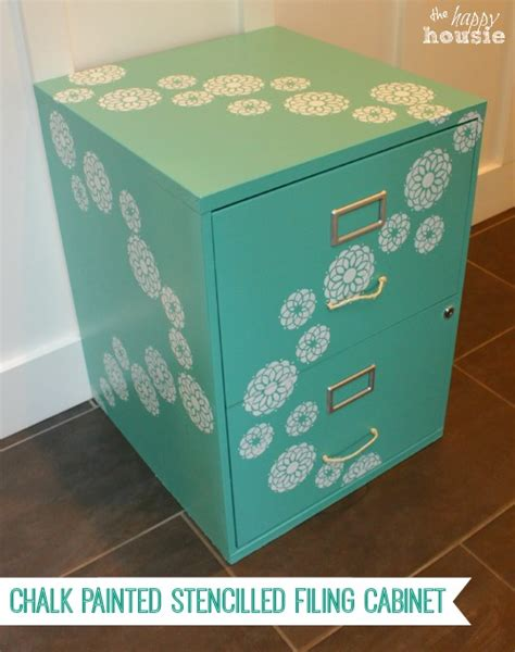 Chalk Paint On Metal Filing Cabinet One Bliss Fully Flowered Chalk Painted Stencilled Filing Cabinet The Happy Housie