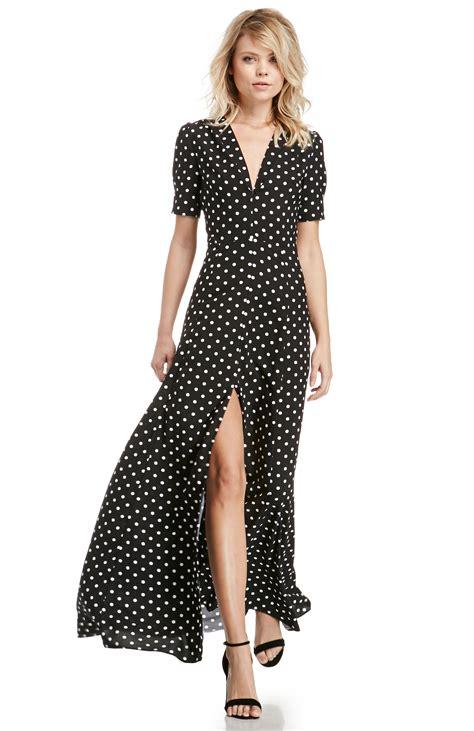 Polka Polki Maxi dailylook sultry polka dot maxi dress in black white