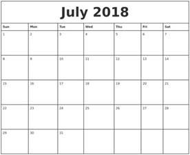 Calendar 2018 Printable Monthly July 2018 Printable Monthly Calendar