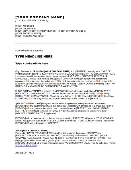 partnership press release template press release new partnership collaboration template