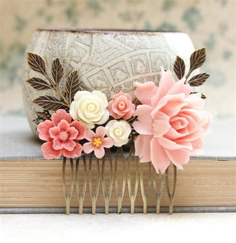 Pink Rose Comb Big Pink Rose Coral Flower Comb Shabby Shabby Chic Wedding Accessories