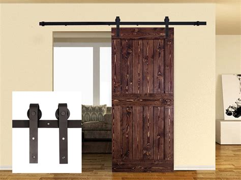 Barn Door Sliding Hardware Interiors 8ft Carbon Steel Sliding Barn Door Hardware Kit Interior Rustic Track Black Ebay