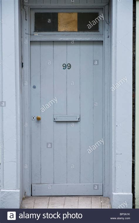 Gray Painted Wooden Front Door No 99 With Letterbox And Front Door Letterbox