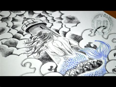 mermaid amp lighthouse tattoo design speed drawing