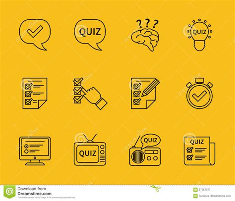 set of vector line quiz icons stock vector image 57257077