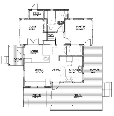 800 sqft 2 bedroom floor plan modern style house plan 2 beds 1 baths 800 sq ft plan 890 1