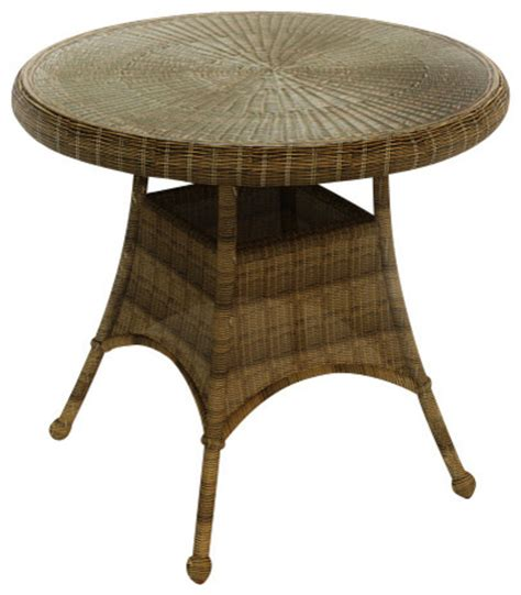 rockport 30 in patio dining table brown wicker