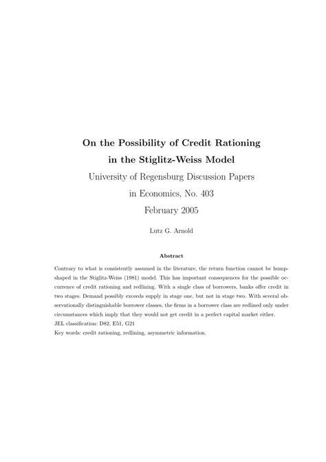 Credit Rationing Formula on the possibility of credit rationing in the stiglitz
