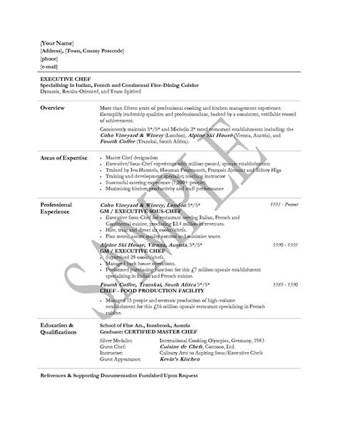 chef resume sle sle of chef resume 28 images cover letter for