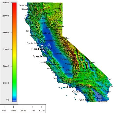california map elevation topocreator create and print your own color shaded