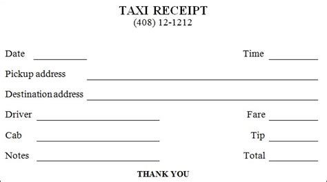 blank taxi receipt template printable taxi receipt