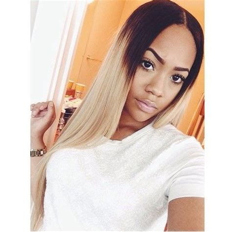 hair blonde front black back long ombre dark root blonde wigs 1b 613 straight wigs