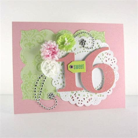 Handmade 16th Birthday Cards - sweet 16th birthday card sweet 16 handmade embossed