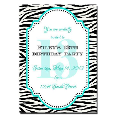 13th birthday party invitation girl birthday invitation