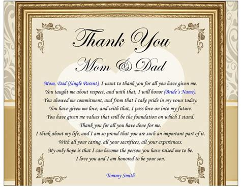 thank you letter to s parents from groom personalized parents gifts from or groom in