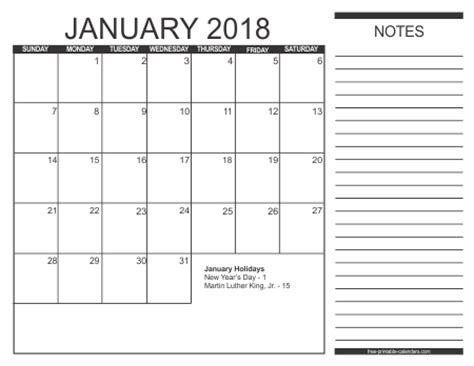 printable january 2018 calendar with notes 2018 calendar style 2 free printable calendars