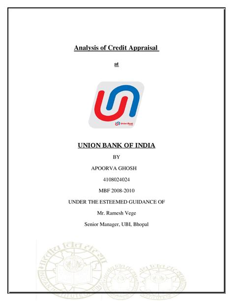 Union Bank Letter Of Credit analysis of credit appraisal at union bank of india by
