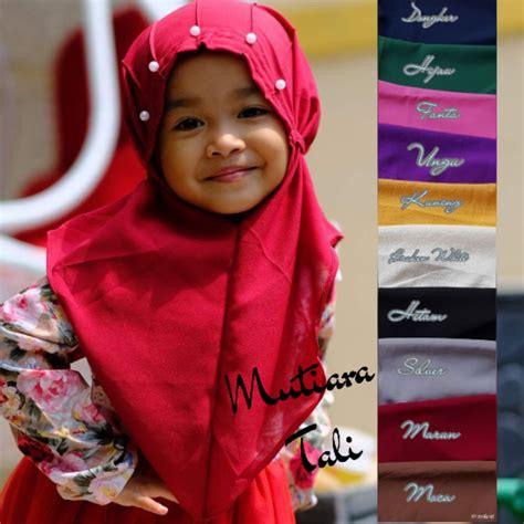 Jilbab Anak Tali Belakang jual jilbab anak mutiara tali non pad jilbab instan