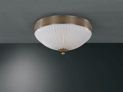 brass ceiling light with white striped blown glass 41 cm