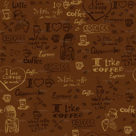seamless pattern coffee seamless coffee patterns illustrations on creative market