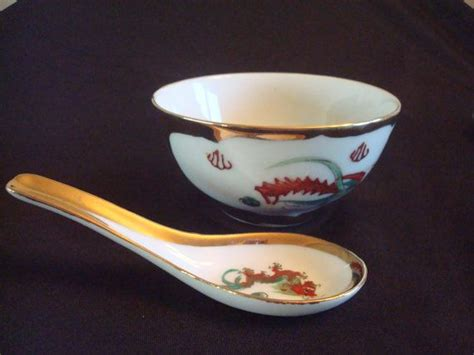 large rice bowl cherry with spoon rice soup bowls and gold on