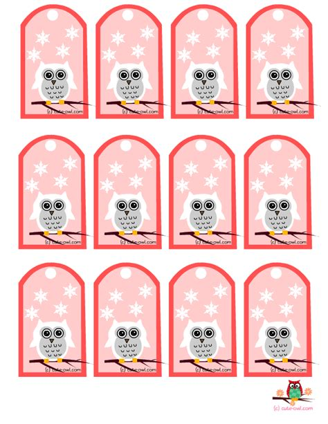 free printable christmas owl tags 4 best images of free printable owl gift tags free