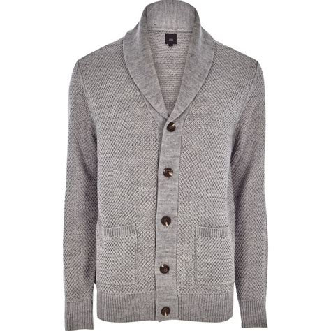 mens knitted cardigan grey shawl neck button up knit cardigan jumpers