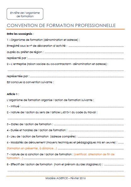 Modèle Convention De Formation les justificatifs 224 produire faf agefice